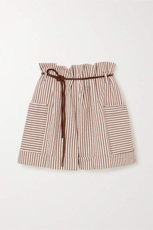 Belted Striped Cotton-blend Seersucker Shorts - Beige