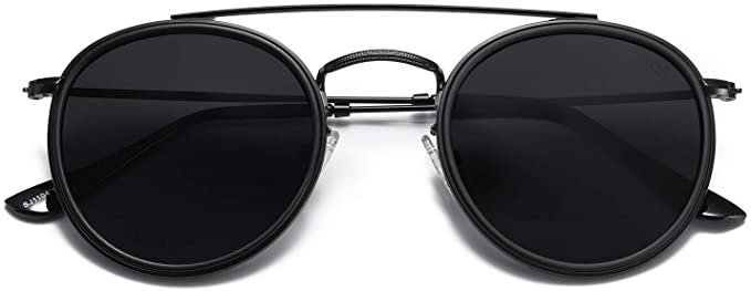 Amazon.com: SOJOS Small Retro Round Polarized Sunglasses UV400 Double Bridge Sunnies SUNSET SJ1104 with Black Frame/Grey Lens: Clothing