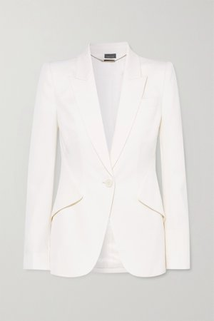White Grain de poudre wool blazer | Alexander McQueen | NET-A-PORTER