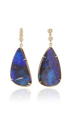 One-Of-A-Kind 14K Gold, Diamond And Opal Earrings by Jill Hoffmeister | Moda Operandi
