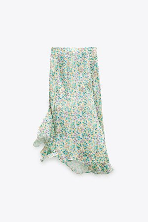 PRINTED SATIN SKIRT | ZARA United States green