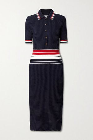 Striped Pleated Cotton-blend Shirt Dress - Navy