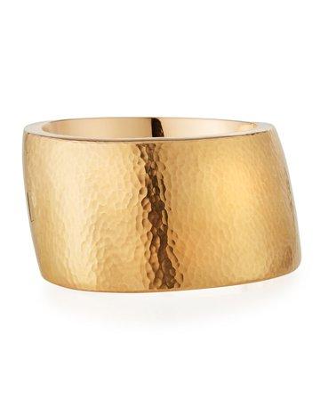 Vendorafa 18k Rose Gold Wide Hammered Design Bracelet