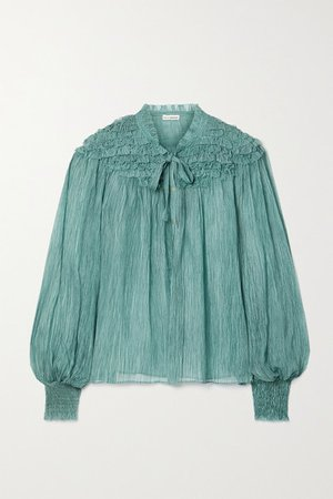 Eloise Tie-neck Ruffled Silk-crepon Blouse - Teal