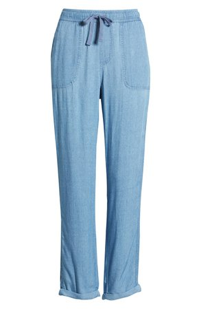 Caslon® Drawcord Twill Pants blue