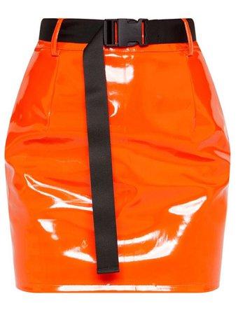 orange leather skirt PLT