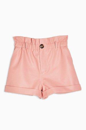 Pink PU Paperbag Shorts   Topshop