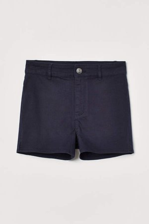 Twill Shorts High Waist - Blue