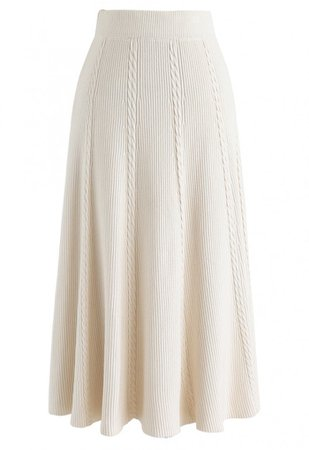 Braid Texture A-Line Knit Midi Skirt in Cream - Skirt - BOTTOMS - Retro, Indie and Unique Fashion