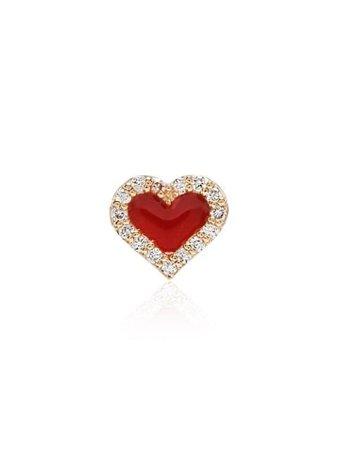Alison Lou Heart Motif Stud Earring ALES42Y Red   Farfetch