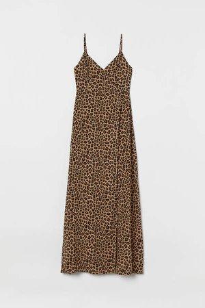 V-neck Maxi Dress - Beige