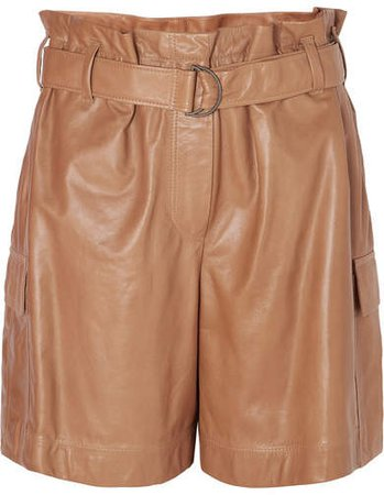 Belted Leather Shorts - Brown