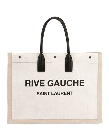 Saint Laurent Noe Cabas Large Rive Gauche Canvas Tote Bag | Neiman Marcus