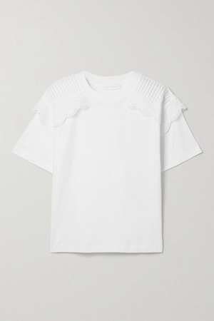 Scalloped Broderie Anglaise-trimmed Cotton-jersey T-shirt - White