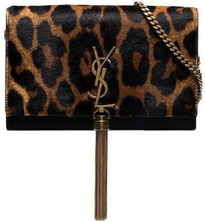 black and brown kate leopard print faux fur chain bag