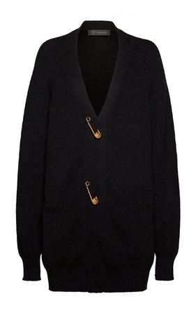 Oversized Safety Pin Wool Cardigan By Versace   Moda Operandi