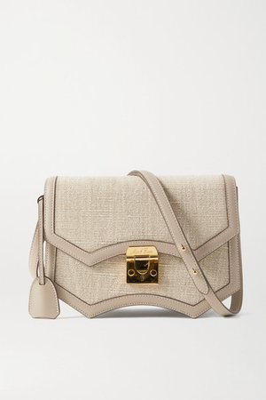 Madeline Linen And Leather Shoulder Bag - Mushroom