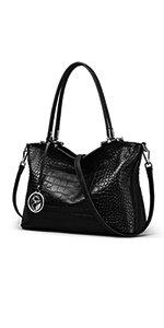 Amazon.com: FOXER Leather Handbags for Women, Genuine Leather Large Capacity Zipper Closure Ladies Top-handle Bags Womens Roomy Tote Purses Women's Designer Handbag with Woven Handle Fashion Shoulder Bag (Black): Clothing