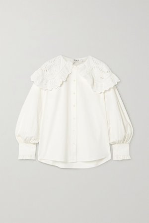 White Marina broderie anglaise cotton-poplin blouse | Sea | NET-A-PORTER
