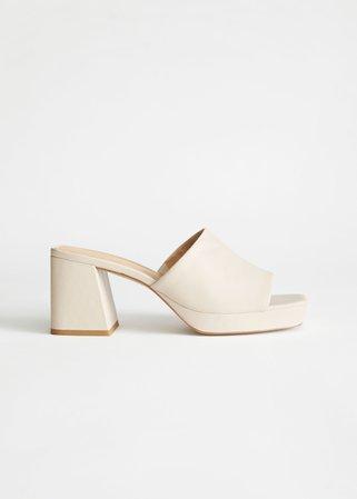 Leather Heeled Platform Mules - Light Beige - Heeled sandals - & Other Stories