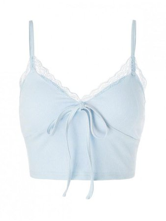 Lace Insert Bowknot Crop Camisole In LIGHT BLUE