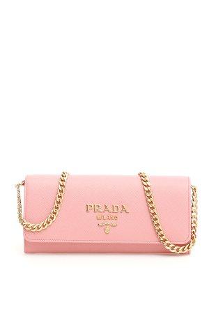 Prada Prada Saffiano Clutch With Strap - PETALO (Pink) - 10962204 | italist