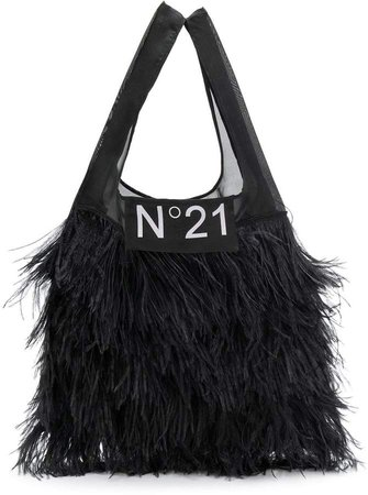 classic shopper with feathers