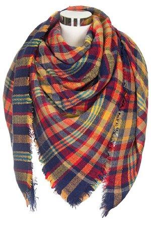 bright fall multi plaid scarf
