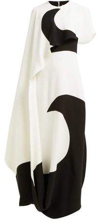 Moon Print Asymmetric Cape Silk Dress - Womens - White Black