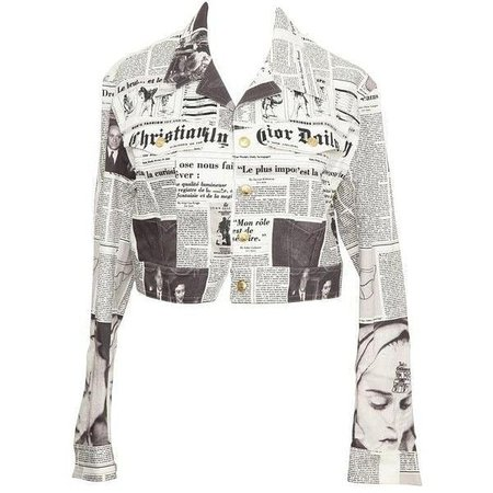 Holy Grails sur Instagram : Dior by John Galliano Newspaper Denim Jacket (year unknown) Galliano's signature design! Would you wear something like this? 📷: pinterest