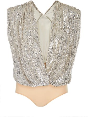 Draped Sequin-Charmeuse Bodysuit