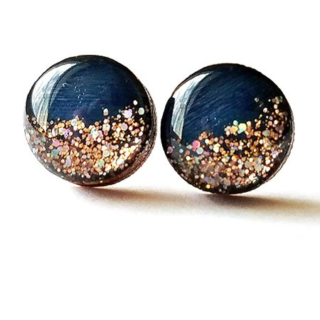 Amazon.com: Hand painted navy blue with rose gold glitter wood stud earrings 10mm: Handmade