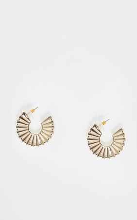 Gold Fan Medium Hoops | PrettyLittleThing USA