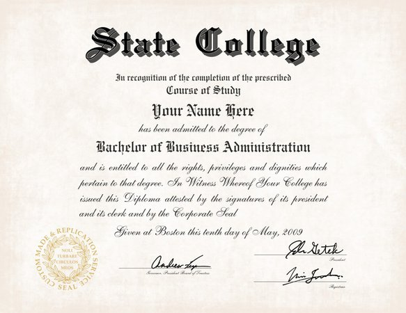 college diploma example - Google Search