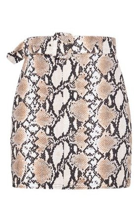 Stone Snake Print Belted Mini Skirt   Skirts   PrettyLittleThing