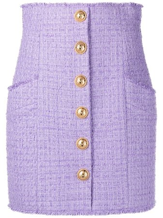 Balmain button-detail Tweed Skirt