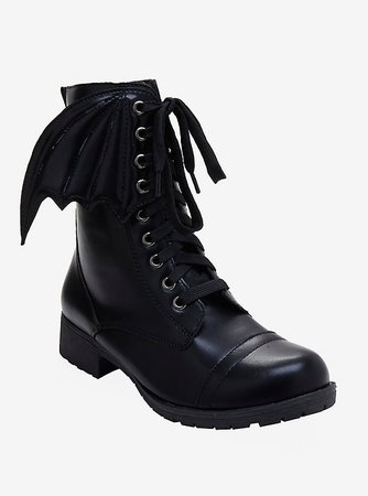 Black Bat Wing Combat Boots