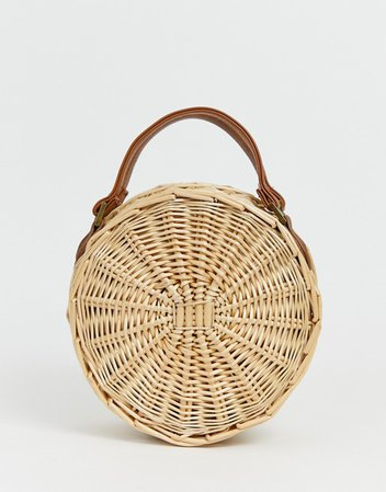 South Beach Exclusive round straw bag with detachable cross body strap | ASOS
