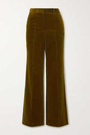 Cotton-blend Velvet Wide-leg Pants - Army green
