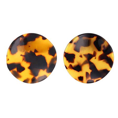 Acrylic Disc Stud Earrings, Tortoise Shell Lucite Earrings for Women, Brown: Clothing