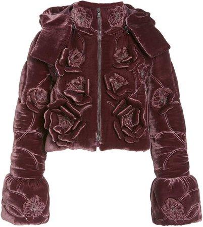 J. Mendel Floral Velvet Cropped Puffer Jacket