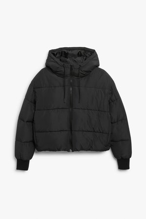 Cropped puffer jacket - Black - Jackets - Monki