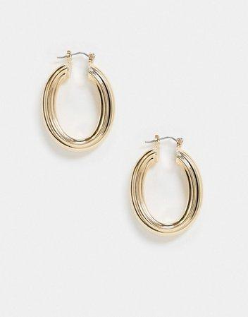 ASOS DESIGN hoop earrings in oval shape in gold tone | ASOS