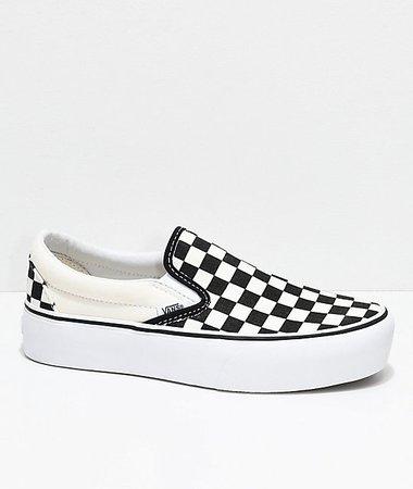 Vans Slip-On Black & White Checkered Platform Skate Shoes | Zumiez