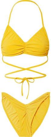 Butterfly Ruched Halterneck Bikini - Yellow