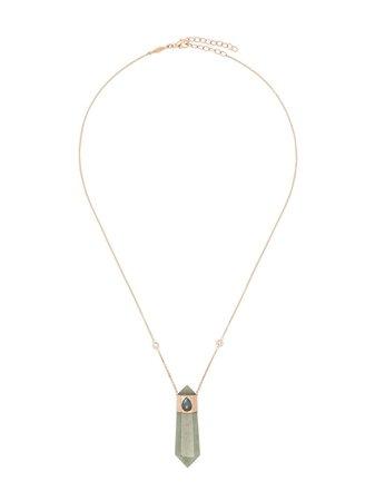 Jacquie Aiche 14Kt Rose Gold Crystal Pendant Necklace JABPARIS5 Green | Farfetch