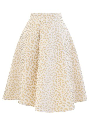 Leopard Jacquard Asymmetric Flare Skirt in Ivory - Retro, Indie and Unique Fashion