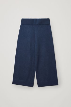 MERINO WOOL WIDE-LEG TROUSERS - Navy - Trousers - COS WW