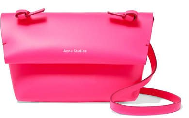 Mini Neon Leather Shoulder Bag - Pink