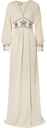 Crystal-embellished Wrap-effect Georgette Gown - Ivory